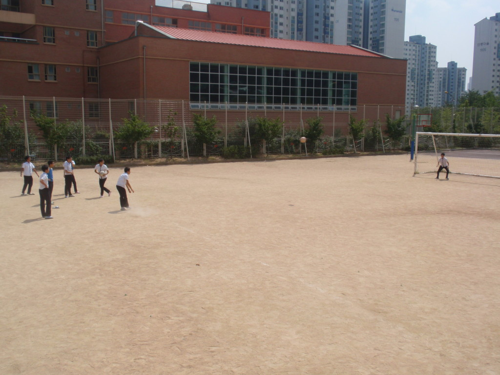 Korean kids playing soccer